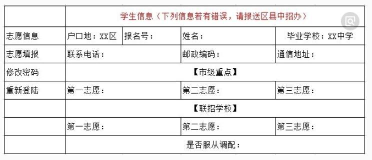 重庆中考志愿填报表